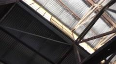 Ceiling of steel roof framing Stock Footage