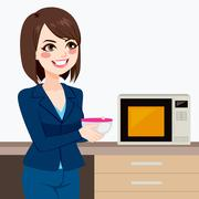 Businesswoman Using Office Kitchen Microwave Stock Illustration