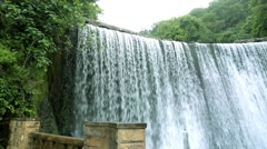 Artificial waterfall near the hydroelectric power station. Stock Footage