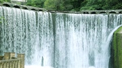 Big beautiful waterfall. Artificial waterfall.Abkhazia city of New Afon. Stock Footage