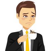 Businessman Sleepy Drinking Coffee Stock Illustration