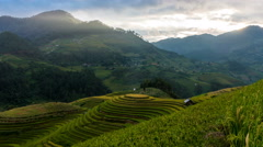 Time lapse - Rice fields on terraced of Mu Cang Chai, YenBai, Vietnam. (zoom) Stock Footage