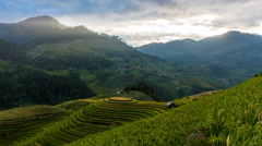 Time lapse - Rice fields on terraced of Mu Cang Chai, YenBai, Vietnam. (pan) Stock Footage