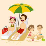 Beach Family Sunbathing Stock Illustration