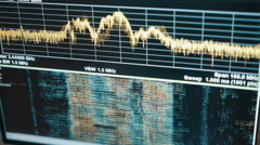 Charts on the oscilloscope display Stock Footage