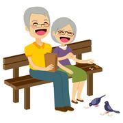 Senior Couple Feeding Birds Stock Illustration
