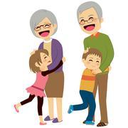 Grandchildren Hugging Grandparents Stock Illustration