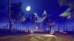 Spooky Halloween house at foggy night with big moon in sky 4K Stock Footage
