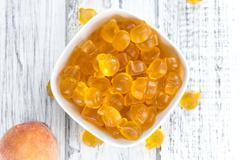 Gummy Peaches (close-up shot) Stock Photos