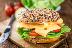 Bagel (with Gouda cheese) Stock Photos