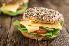 Bagel with Cheese (Gouda) Stock Photos