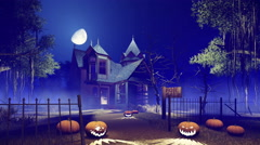 Halloween haunted house at misty night 4K Stock Footage