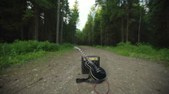 Electric guitar and amp in the forest Stock Footage