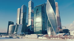 Skyscrapers of Moscow City in the winter Stock Footage