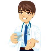 Doctor Giving Pill Stock Illustration