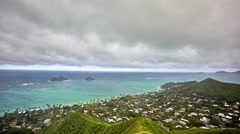 Timelapse of Lanikai Beach and Mokulua Islands, O'ahu, Hawai'i Stock Footage