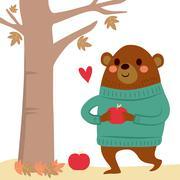 Bear Apples Autumn Stock Illustration