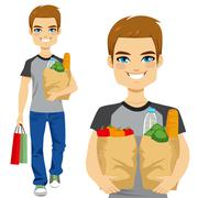 Man Carrying Grocery Bag Stock Illustration