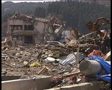 Destroyed town of Minami Sanriku after great Japan tsunami in March 2011 Stock Footage