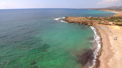 Wild beach of cyprus Stock Footage