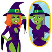 Pretty Ugly Witch Mirror Reflection Stock Illustration