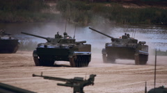 Several BMP moving on the range on military exercises Stock Footage