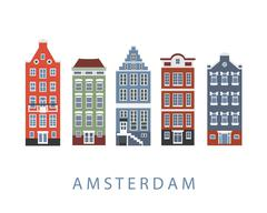 Amsterdam city buildings set Piirros
