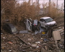 Disaster zone after great Japan tsunami in March 2011. Sendai airport area Stock Footage