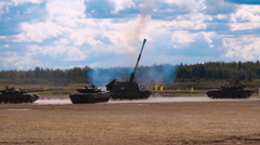 "Shot from 2S35 ""Coalition-SV"" - Russian 152mm self-propelled howitzer Stock Footage"
