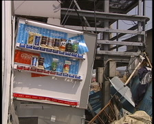 Results of great  Japan tsunami in March 2011. Industrial area near Sendai city. Stock Footage