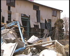 Industrial area near Sendai city. Results of great  Japan tsunami in March 2011 Stock Footage