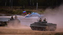 Several BMP moving to the river to cross the river by swimming Stock Footage