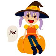 Orange Witch and Gentleman Ghost Stock Illustration