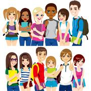 Group of students Stock Illustration