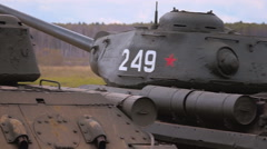 USSR military vehicles of World War 2 stands in a row Stock Footage