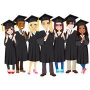 Successful Students Graduating Stock Illustration