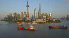 SHANGHAI THE BUND DRONE AERIAL FLYING OVER CHINA Arkistovideo