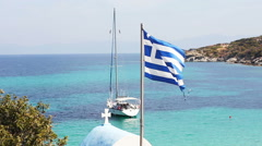 Greece National Flag , Summer Travel Destination,beautiful turquoise colors of t Stock Footage