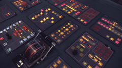 Central control panel with illuminated buttons and lever arm Stock Footage