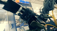 Mechanical, metallic, hydraulic arm - manipulator for the physical movement Stock Footage