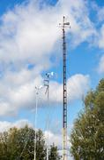 Devices of meteorological station, wind meter, on the blue sky background Stock Photos