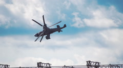 "Reconnaissance and attack helicopter of the new generation Ka-52 ""Alligator"" fly Stock Footage"
