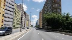 Minhocao Road in Sao Paulo, Brazil Stock Footage