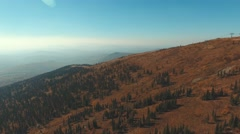 Aerial view of a ski resort in the autumn season. Sheregesh Stock Footage