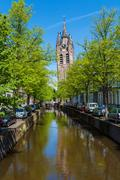 The building of the old Church  (Oude Kek) in Delft, Netherlands Stock Photos