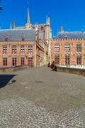 City hall and ancient Homes in Bruges, Belgium Stock Photos