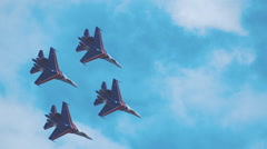 "Aerobatic team ""Knights"" on aircraft ""SU-27"" performs aerobatics Stock Footage"