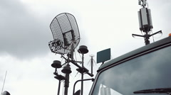 Antennas on military vehicles of communication Stock Footage