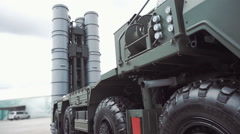 Russian anti-aircraft missile system of large and medium-range air defense Stock Footage