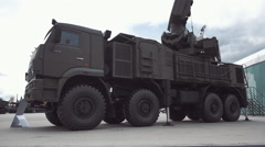 SA-22 Greyhound is russian self-propelled anti-aircraft missile and gun system  Stock Footage